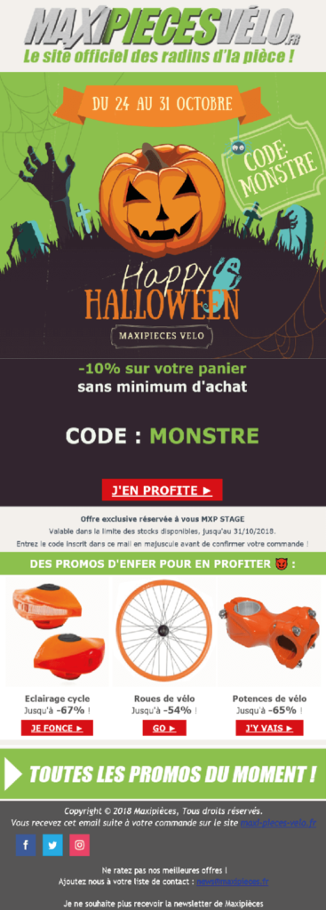 Exemple de newsletter Maxipièces Vélo
