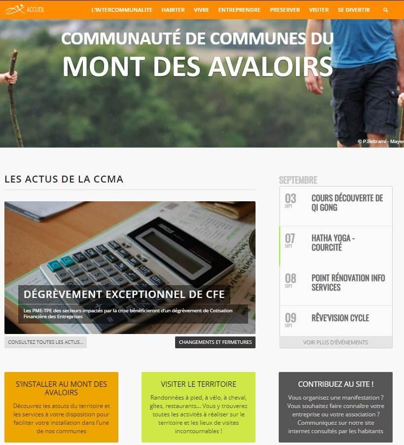 Site internet de la Communauté de Communes du Mont des Avaloirs